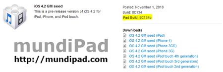 Apple publica el iOS 4.2 GM seed