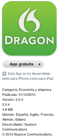 Dragon Dictation para iPad, Review