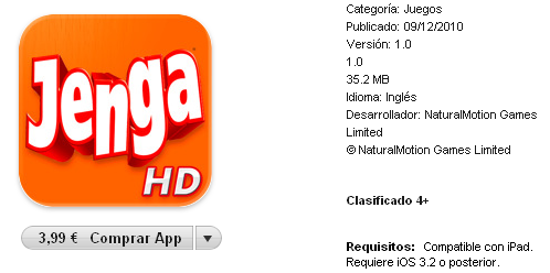 Jenga disponible para el iPad