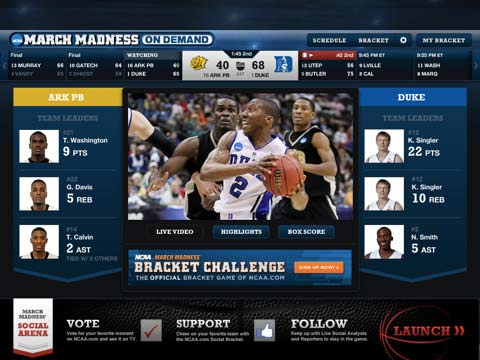 Mira la NCAA March Madness Games Live en IPAD