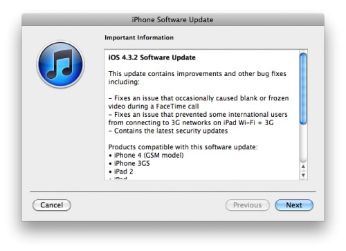 Apple lanza iOS 4.3.2