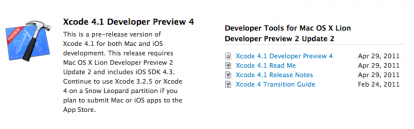 Disponible Xcode 4.1 Preview 4