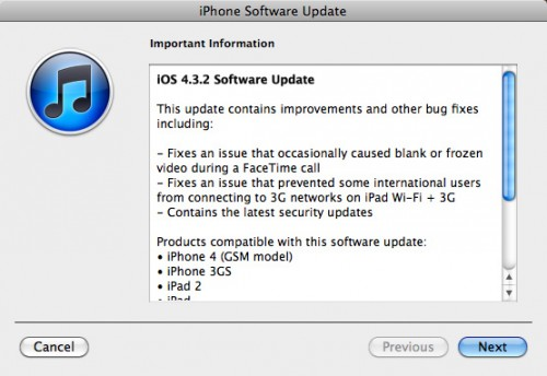 IPAD 2 Noticias: Comunicados de Apple IOS 4.3.2