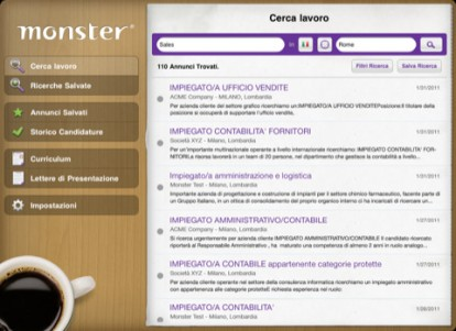 Monster.it, ofertas de empleo en el IPAD