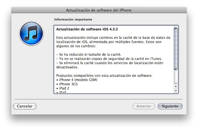 Apple publica iOS 4.3.3 para los dispositivos iOS