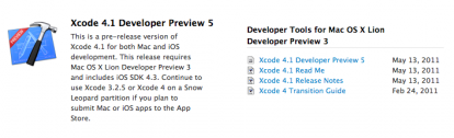Disponible Xcode 4.1 Preview Developer 5