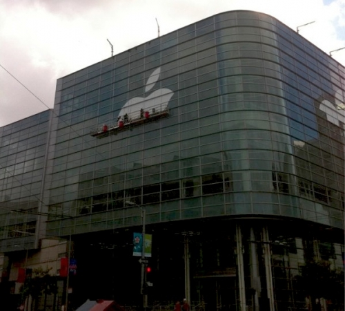 Apple empieza a decorar el Moscone Center