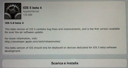 IOS 5 Beta 4 - La primera actualización Over The Air (OTA) aquí está el vídeo de iPadItalia