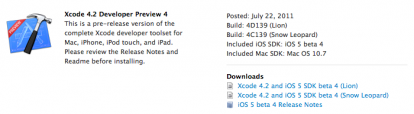 Xcode 4.2 beta para desarrolladores vista previa disponible 4
