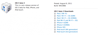 IOS 5 Beta 5 Disponible para iPad!
