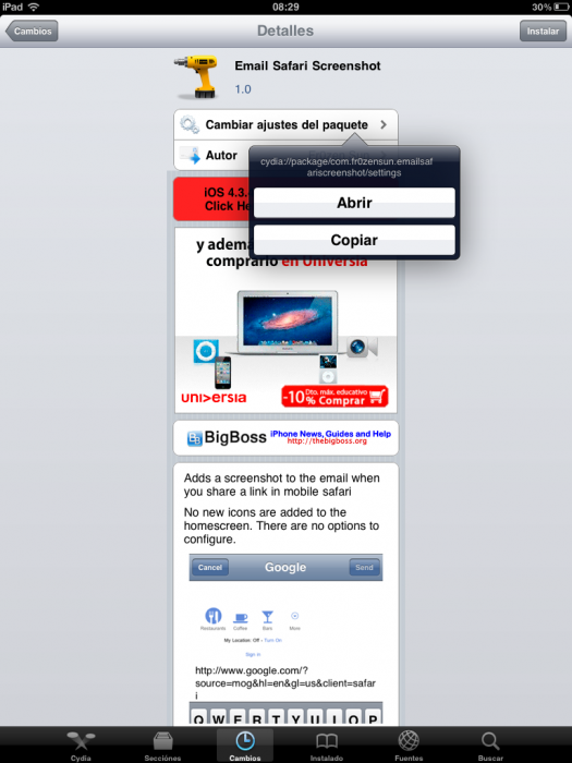 Truco: comparte Links de Cydia
