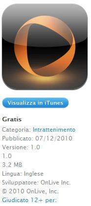 OnLive Viewer: lo streaming dei giochi arriva su iPad